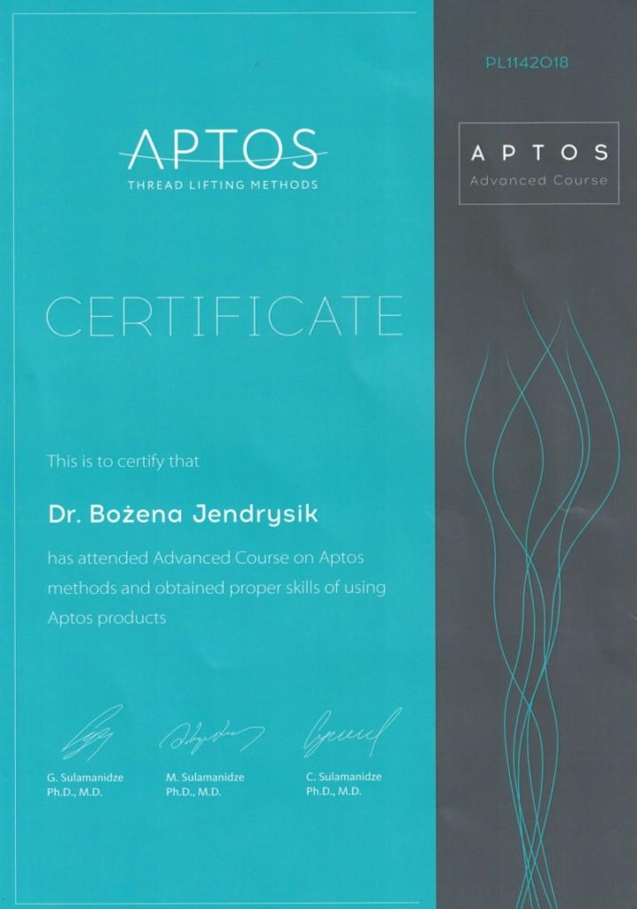 certyfikat zaawansowany jendrysik nici aptos